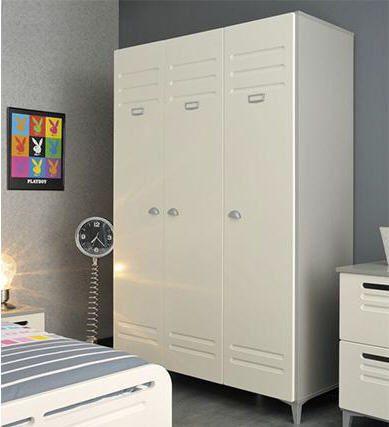 Armoire Design 3 Portes Locker Effet Metal Blanc Armoire Miliboo Ventes Pas Cher Com Armoire Design Armoire Chambre Armoire
