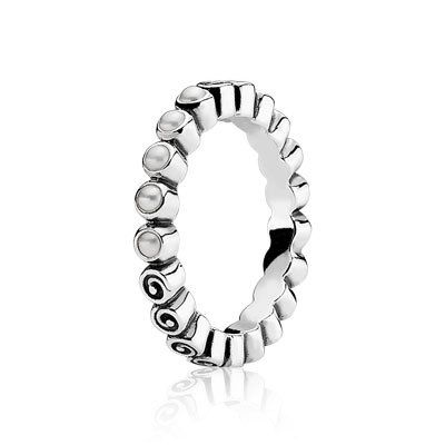 PANDORA | Silver ring, white freshwater cultured pearl