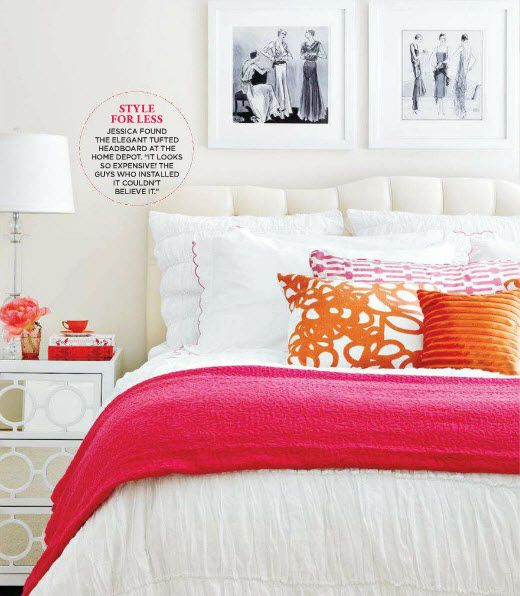 big girl room pink and orange against lots of white {designed by Jessica Waks}