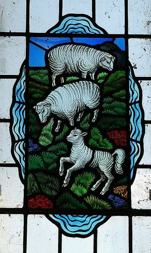 Stained glass window in the ancient chapel at St Thomas Harty Isle of Sheppy Kent