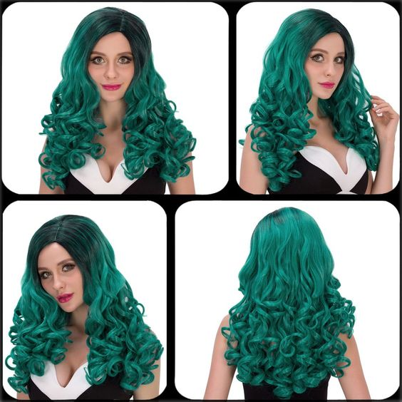 Vogue Long Wavy Side Parting Black Mixed Green Women's Cosplay Lolita Synthetic Wig