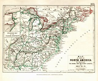 Map of part of North America to illustrate the Naval and Military events of 1812-13-14. A. K. Johnston Detailed map of the area circa 1860.