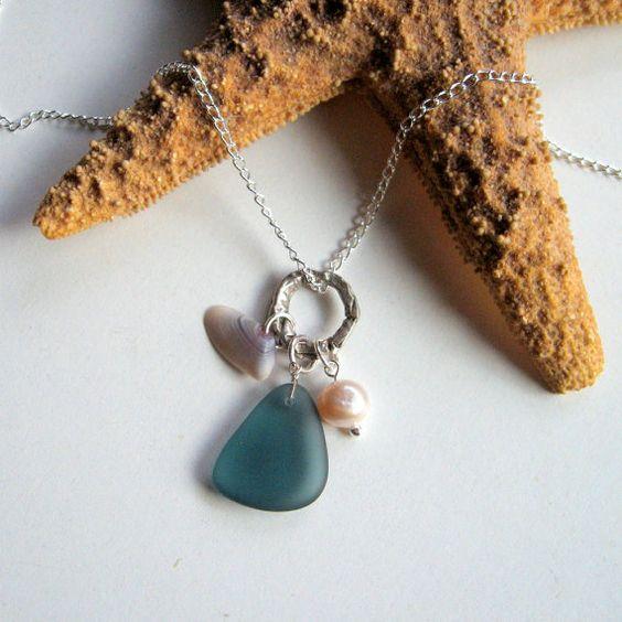 Beach Trio  Ocean Blue Sea Glass Tiny Seashell by enchantedplanet