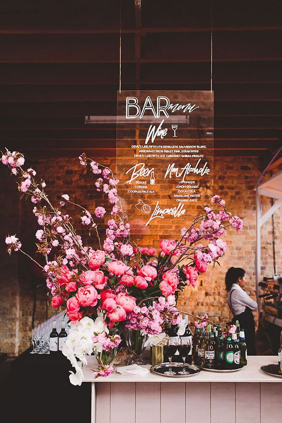 Creative Wedding Bar Signs to Style Your Cocktail Decor, f85a1ac2fd26ad0a965dbf74859317d5