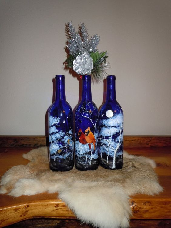 Hand painted wine bottle with cardinals in by for Hand painted glass bottles