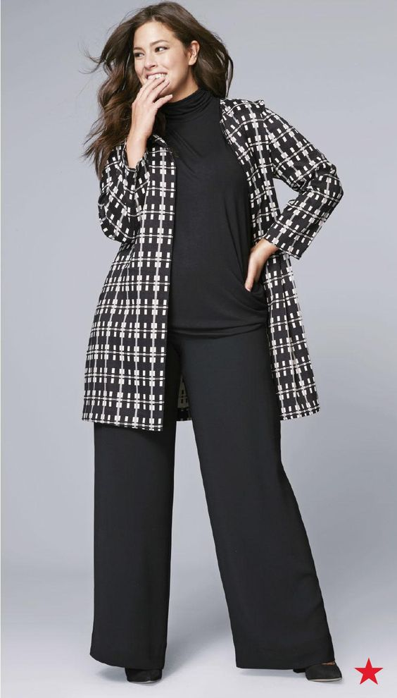 Top off your head-to-toe black outfit just like Ashley Graham, with this plus size plaid jacket from Alfani. All-over graphic print in black and white is sophisticated, chic and very versatile.:
