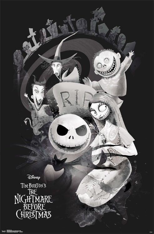 Nightmare Before Christmas Rip Character Collage Poster 22x34 Movie 15488 Nightmare Before Christmas Wallpaper Nightmare Before Christmas Sally Nightmare Before Christmas