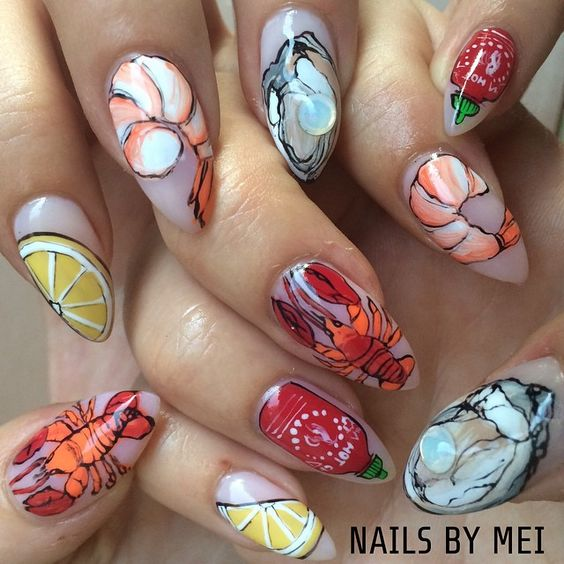 All I want to eat for summer ❤️❤️ #nailsbymei #seafood #lobster #shrimp #oyster #lemon #hotsauce for @penelopecupcake #meisfavorite #handpainted