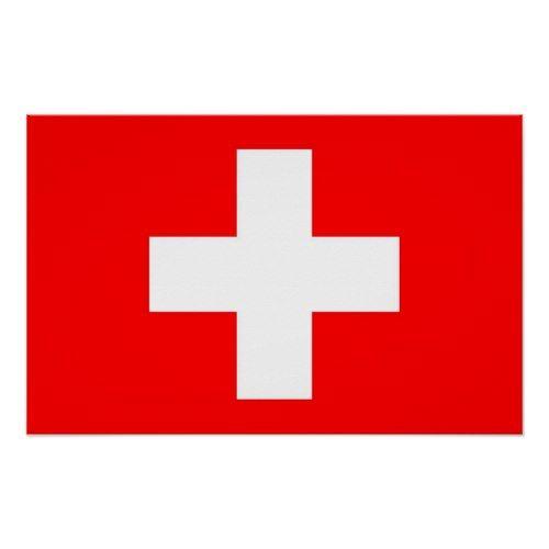 Poster With Flag Of Switzerland Zazzle Com Switzerland Flag Custom Posters Flag