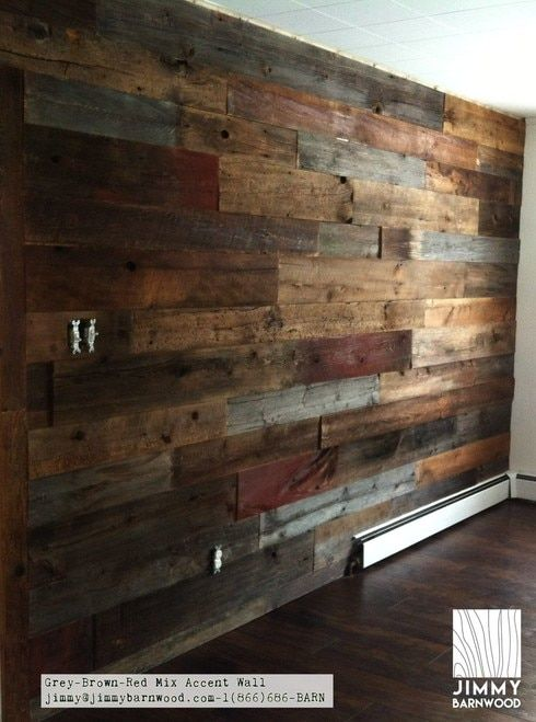 A Nice Application Of Red Grey Brown Mix Reclaimed Wood Wall Reclaimed Wood Wall Wood Pallet Wall Wooden Accent Wall