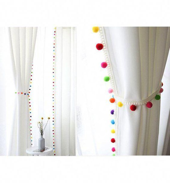 Pom Pom Blackout Curtains Kids Blackout Curtains White #BestBlackoutCurtainsforBedroomsandLivingRooms