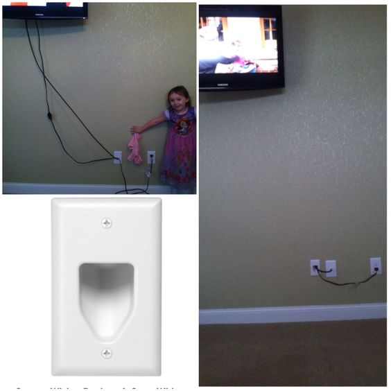 how to hide those cords from wall mounted tvs i found. Black Bedroom Furniture Sets. Home Design Ideas