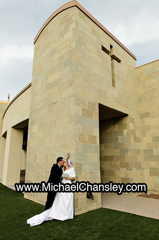 Bride And Groom Pose For A Portrait At Casas Church Barrier Chapel Wedding Venue In Tucson
