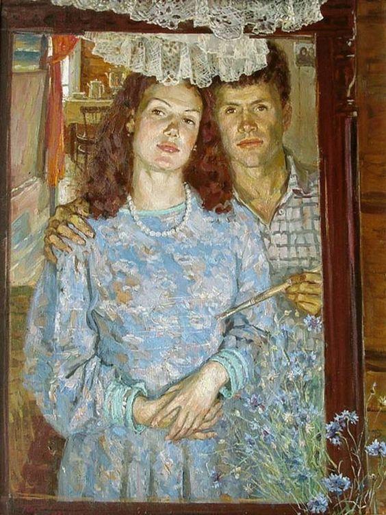 Чайников Григорий Леонтьевич (1960-2008) «Васильки цветут. Автопортрет с женой» 1992