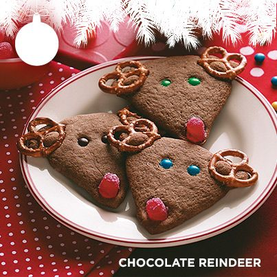 Taste of Home's Cookie Countdown: Chocolate Reindeer! Enlist little hands to help position the antlers, eyes and noses on these adorable, crisp reindeer cookies. Thanks to Pat Habiger of Spearville, Kansas for sharing the recipe!
