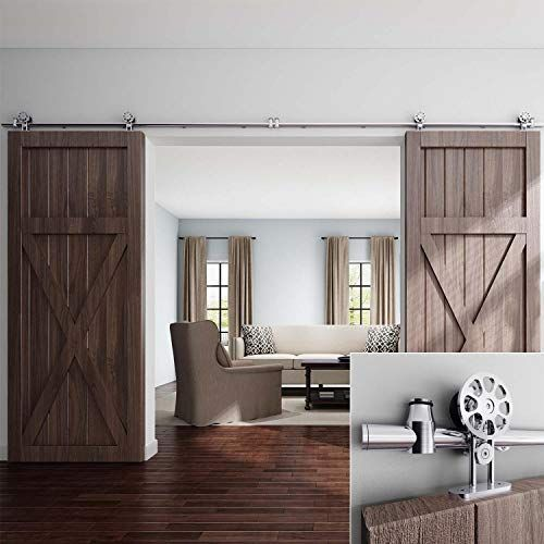 Easelife 10 Ft Double Door Top Mount Modern Sliding Barn Https Smile Amazon Com Dp B076hb3zj Modern Sliding Barn Door Easy Install Double Doors