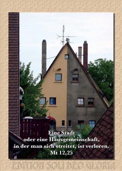 christliche Postkarte 30 - Matthäus 12, Haus, Streit - Bibel a la Carte - Christliche Karten