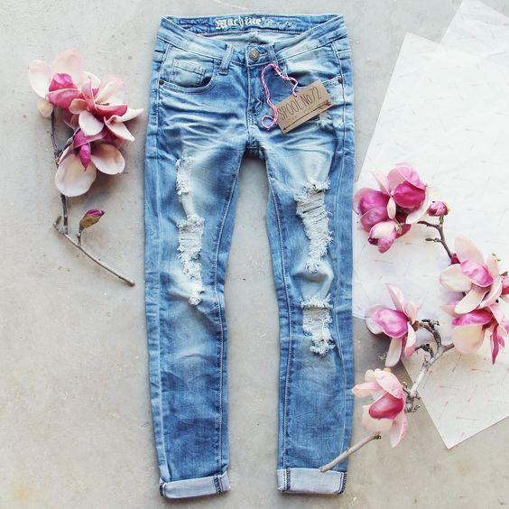 Indigo Sky Crop Jeans, Darling Distressed Denim Jeans from Spool 72. | Spool No.72: