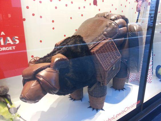 bear made out of furniture Peter Jones shop window display December 2013