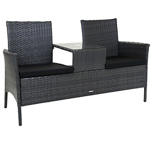 Charles Bentley 2 Seater Rattan Companion Love Seat Chair Bench Weatherproof Outdoor Patio Garden Furniture Garden Patio Furniture Garden Furniture Furniture