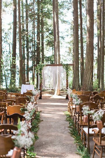 Kitsap Memorial State Park Wedding Poulsbo Washington Forest Altar Chairs Mason Jars Rose Gold Floral Details Love Marriage Kaysen Photography