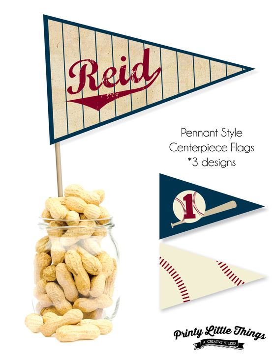 Printable Vintage Baseball Pennant Style Centerpiece Flags by printylittlethings on Etsy https://www.etsy.com/listing/290297223/printable-vintage-baseball-pennant-style