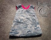 Pinafore, Pinny, Reversible Pinafore Top, Air Force, ABU, Hunter, Camo, Children's Clothing, Sizes Sizes up to 2T Military. $27.00, via Etsy.