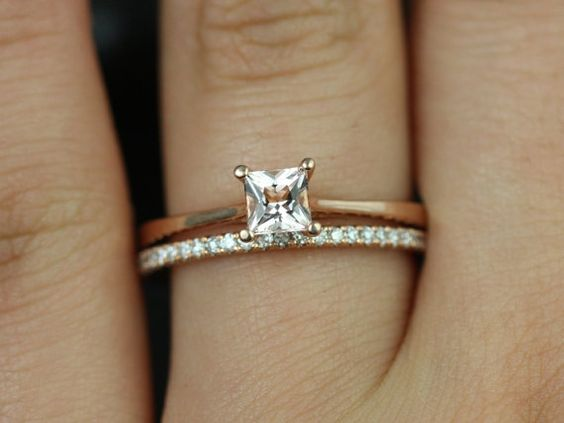Gallina 14kt Rose Gold Princess Morganite Open Cathedral Looped Solitaire Wedding Set (Other metals and stone options available)