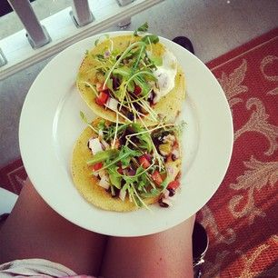 Marinated corn and zucchini sprout tacos