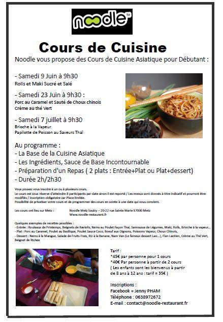 Profitez en noodle lance des cours de cuisine - Cours de cuisine debutant ...