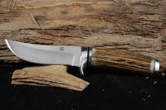 """Overall 9 1/2"""" with a 4 5/8"""" blade.  Red stag handle with mirror finish.  Made with 440C steel"""