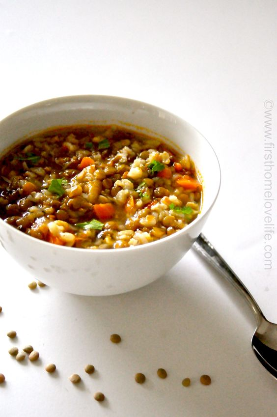 Lentil and Brown Rice Soup | Lentils, Brown Rice and Rice Soup