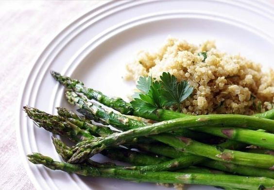 Roasted Asparagus with Herb Butter and Quinoa