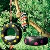 Furniture, Excellent Decoration Style Of Wiith Ban Style With Black Color And Good Also Cute Circle Tile Design In Backyard With Green Plants And Green Tree Looked Inspiring And Great: Wonderful Style Of Kids Tree Swing With Comfortable Design Ideas