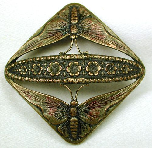 ButtonArtMuseum.com - Gorgeous Antique Pierced Brass Button Twin Butterfly Flowers Design: