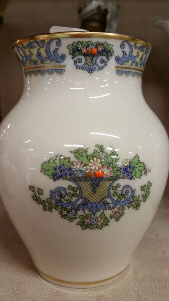 Lenox Autumn Two Small Vases Gold Enameled Floral Fine
