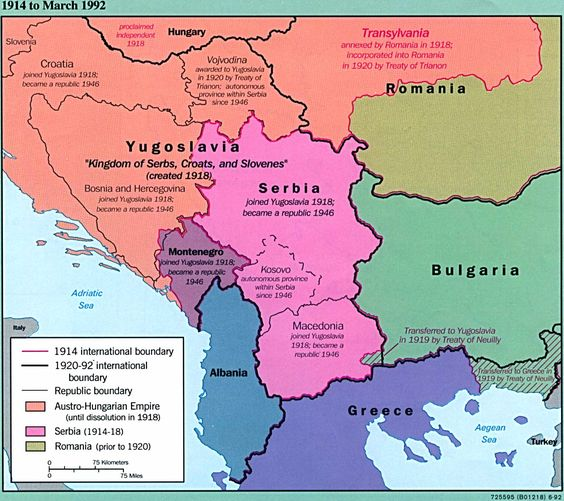 Map with Yugoslavia, Serbia, and Albania, as well as parts of Hungary, Romania, Bulgaria, and Greece.  Map also breaks out Croatia, Vojvodina, Bosnia-Herzegovina, Montenegro, Kosovo, and and Macedonia.