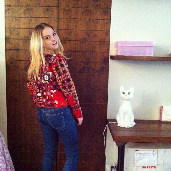 Laura Hayden wearing Mochi's embellished jacket at the showroom