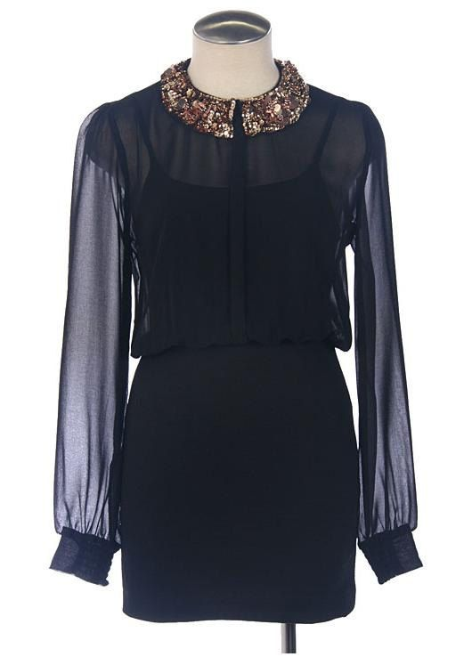 Sequined collar chiffon dress black by LacyApparel on Etsy, $51.99