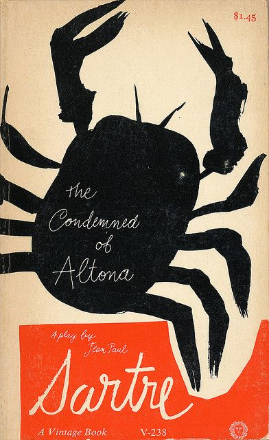 The Condemned of Altona cover by Paul Rand    A Paul Rand book paperback book design.    The Condemned of Altona by Jean Paul Sartre.  Vintage Books, 1963.