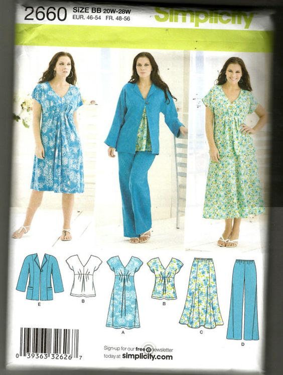 Simplicity 2660 Plus Size womens sewing pattern by NoodlesNotions, $8.00