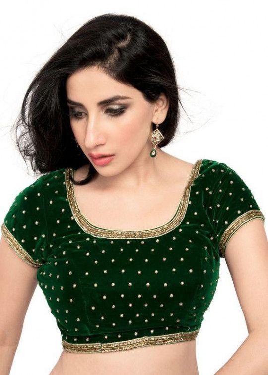 Green Designer Velvet  Readymade blouse with back open and boat neck Saree readymade blouse Designer Velvet crop top