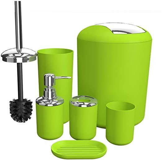 Bathroom Accessories Set 6 Pieces Plastic Bathroom Accessories Toothbrush Holder R Bath Accessories Set Mosaic Bathroom Accessories Green Bathroom Accessories
