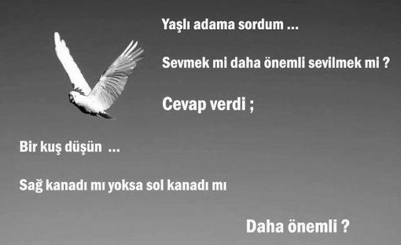 Yaşlı adama sordum...  Sevmek mi daha önemli sevilmek mi ? Cevap verdi : Bir kuş düşün...  Sağ kanadı mı, yoksa sol kanadı mı daha önemli ?