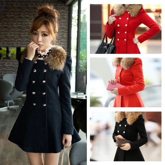 Fashion Women's Winter Warm Wool Jacket Coat Trench Parka Slim Overcoat Outwear | eBay
