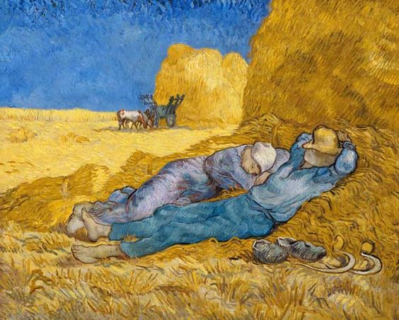 """Vincent van Gogh, """"The Siesta"""" (after Millet), Dec. 1889 - Jan. 1890. Oil on canvas, 73 x 91 cm (Musée d'Orsay, Paris)."""