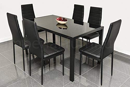 Ebs 7 Piece Kitchen Dining Table Set For 6 With Modern Glass Top