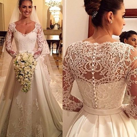 Adoro vestidos clássicos!!? E vocês? #casamento #wedding #bride #noivas #noiva #noiva2015 #noiva2016 #vestidodenoiva #vestidadenoiva #vestidobranco #white #whitedress #dress #bridedress #bridal #makeup #bridemakeup #hair #bridehair