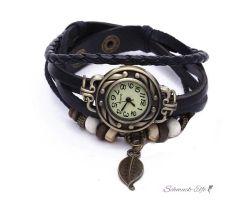 Leder Armbanduhr  Vintage Blatt  schwarz  im Organza Beutel