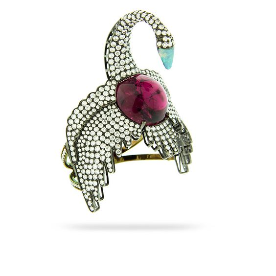 SWAN BRACELET by Silvia Furmanovich  18 carat gold, diamond, aquamarine and rubellite bracelet.